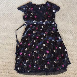 Free People Silk Dress Like New  10 Black Floral